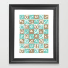 Microscopic Life Sillouetts Blue and Taupe Framed Art Print