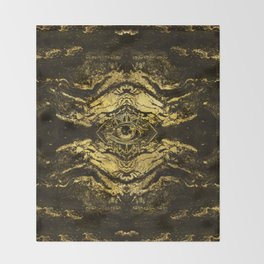 All Seeing eye golden texture on aged wood Throw Blanket