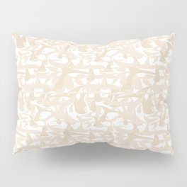 Whale Tail Beige White Abstract Art Pillow Sham