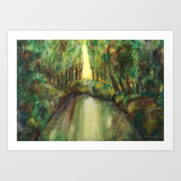Trees and creek - Original painting Art Print