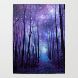 Fantasy Forest Path Icy Violet Blue Poster