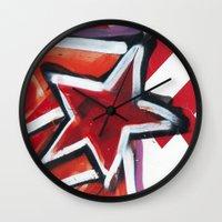 grafitti Wall Clocks featuring Grafitti Star by Leslie Philipp