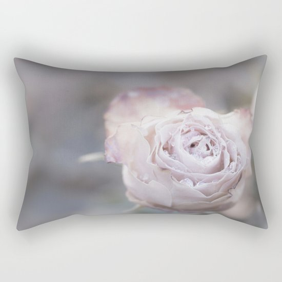 Frozen Pink Rose in Winter - Roses and Flowers Rectangular Pillow