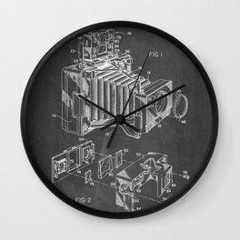 Vintage Camera Patent - Photographic Camera Art - Black Chalkboard Wall Clock