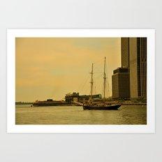 Vintage NY Harbor Tall Ship Art Print