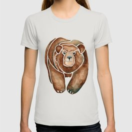 Grizzly Bear | Woodland Animal Watercolor Painting T-shirt