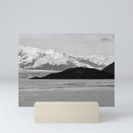 Alaska Glacier Snow Mountains Black And White Mini Art Print