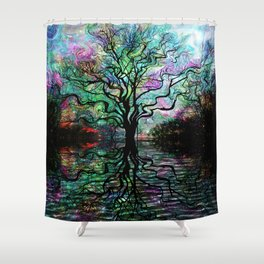 Van Goghs Aurora Borealis Reflection Shower Curtain