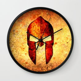 Spartan Helmet On Rust Background - Molon Labe Wall Clock