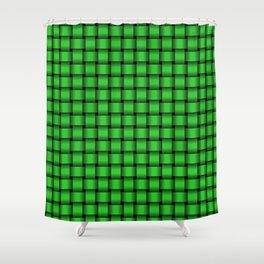 Small Lime Green Weave Shower Curtain
