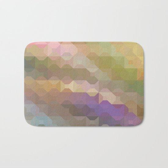 Soft Colored Rainbow Geometric Design Bath Mat