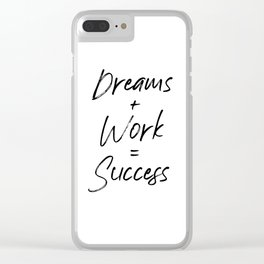 Dreams + Work = Success, Hard Work And Patience, Hustle, Success Quote, Dreams And Hard Work Clear iPhone Case