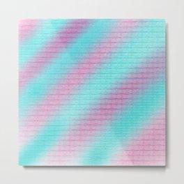 Artistic hand painted pink teal geometrical pattern Metal Print