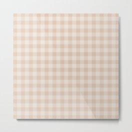 Gingham Pattern - Warm Neutral Metal Print