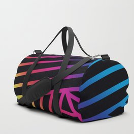 Rainbow Ombre Pattern on Black Background Duffle Bag