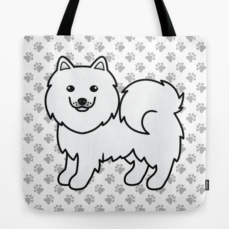 Cute White Samoyed Dog Cartoon Illustration Tote Bag By Destei Society6