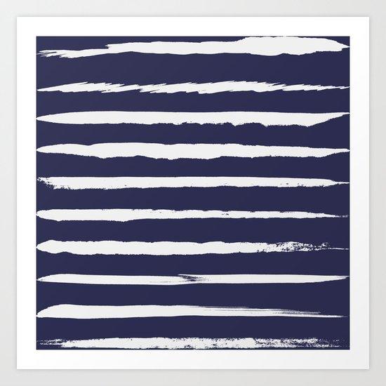Irregular Hand Painted Stripes Dark Blue Art Print