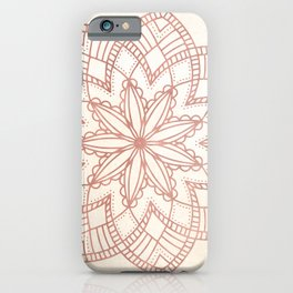 Flowery Rose Gold Mandala on Cream IV iPhone Case