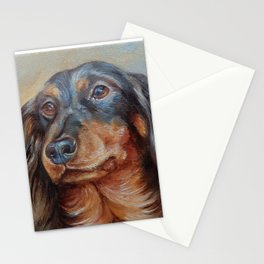 Teckel black and tan Dachshund portrait Cute pet painting Stationery Cards