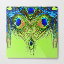 CHARTREUSE BLUE-GREEN PEACOCK FEATHERS ART PATTERNS Metal Print