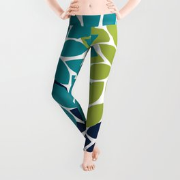 Bold Colorful Teal Green Navy Dahlia Flower Burst Petals Leggings