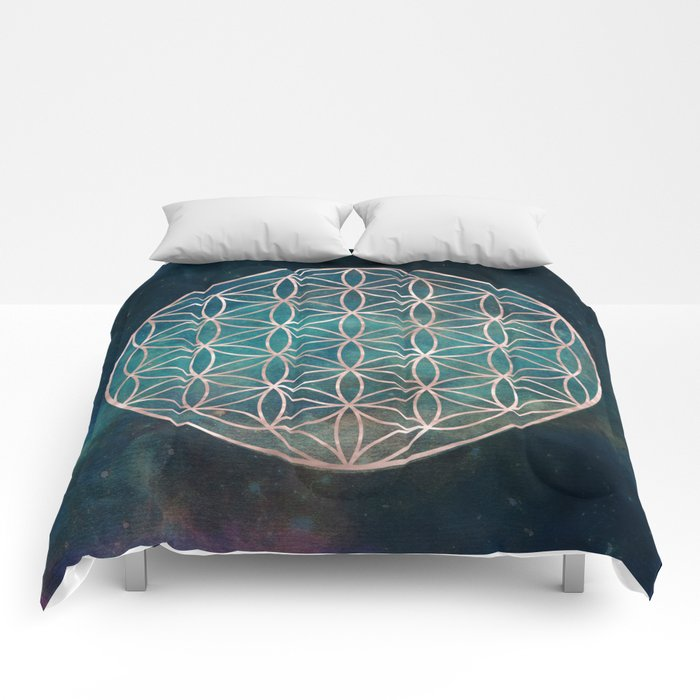 Mandala Flower of Life Rose Gold Space Stars Comforters