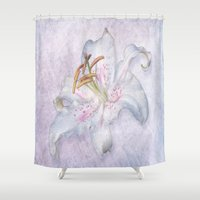 lily Shower Curtains featuring Lily by Lynn Bolt
