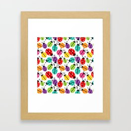 Lots of Crayon Colored Ladybugs Framed Art Print