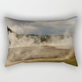 A Cloud Of Steam And Water Over A Geyser Rectangular Pillow