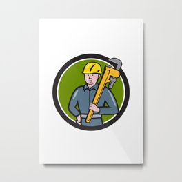 Plumber Holding Wrench Circle Cartoon Metal Print