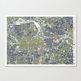 Berlin city map engraving Canvas Print