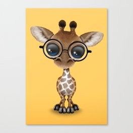 Cute Curious Baby Giraffe Wearing Glasses Canvas Print