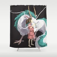 spirited away Shower Curtains featuring Spirited Away by Sharna Myers