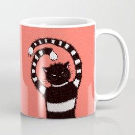 Evil Cat In Snowy Winter Strange Cartoon Kitty Coffee Mug