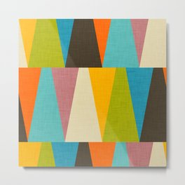 Retro Color Block Triangle Color Fun Metal Print