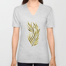Olive Green Watercolour Branch Unisex V-Neck