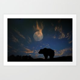 Bear and Moon Art Print