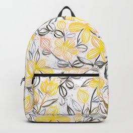 Sunny Yellow Crayon Striped Summer Floral Backpack