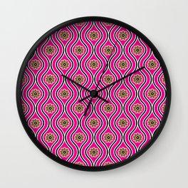 1970s Retro Vintage Pink Flower Power Pattern Wall Clock