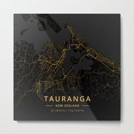 Tauranga, New Zealand - Gold Metal Print
