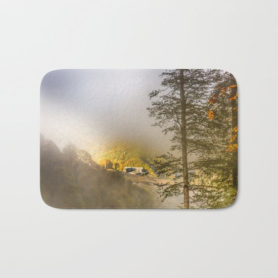 Mountains in the mist Bath Mat