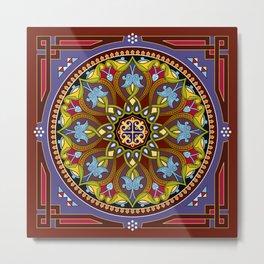 Boho Floral Crest Metal Print