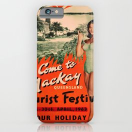 retro iconic Mackay Queensland poster iPhone Case