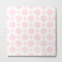 Geometric Orbital Circles In Pale Delicate Summer Fresh Pink & White Metal Print