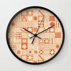 wolf geo orange ivory Wall Clock