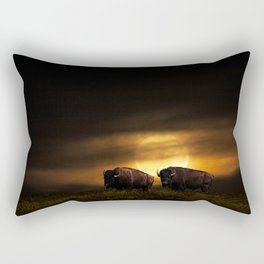 Two American Buffalo Bison with Moon Rise Rectangular Pillow