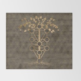 Kabbalah The Tree of Life Vintage Gold on Wood Throw Blanket