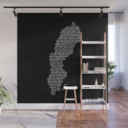 Cities in Sweden - black Wall Mural
