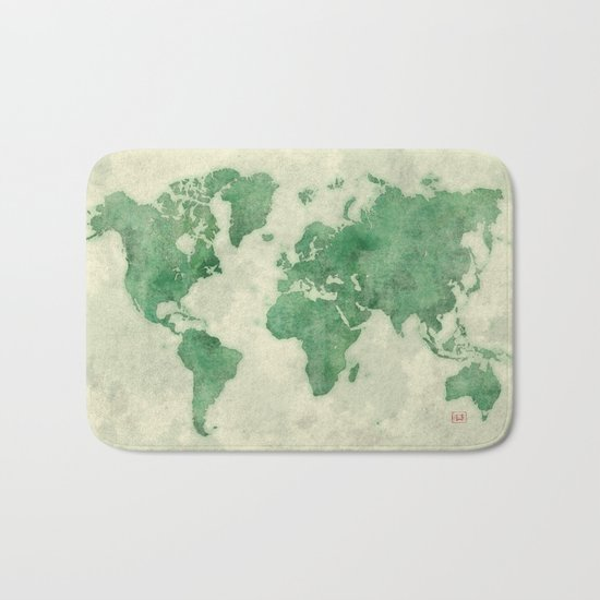 World Map Green Bath Mat