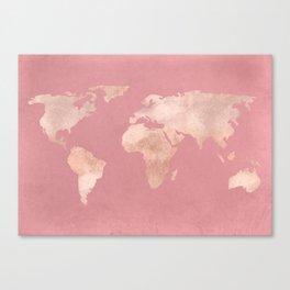 Rosegold World Map Sans Type Canvas Print